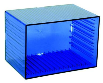 """Tango"" DVD and CD box, transparent blue for 7 DVDs and 14 CDs"