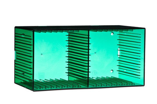 """Tango"" CD box, transparent green for 18 CDs"